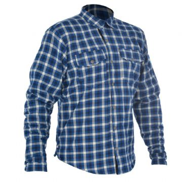 Oxford Kickback Kevlar Lined Water Resistant Motorcycle Shirt Blue & White L